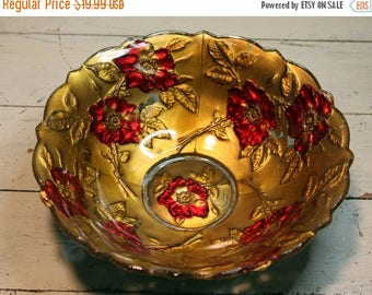 ON SALE Vintage Bowl- Goofus Glass- VICTORIAN Bowl in Gold & Red- Poppy Pattern- Very Old Shabby Chic E-03