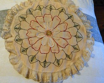 "Dainty BOUDOIR DAISY PILLOW Cover Silk Embroidered Layered Petals, Cream Pink Red Black Rose Lace Border, Antique Flapper Era Find 20"" dia"