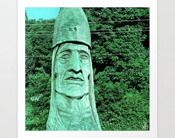 Art Print Indian Carving Peter Toth Whispering Giants Clatsop Carved Wood tribal photo, Astoria Oregon, northwest, Native American, portrait