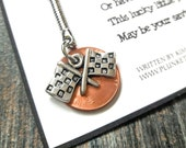 The Lucky Penny - Original Poem And Keychain - Shown With Silver Checkered Flags Charm