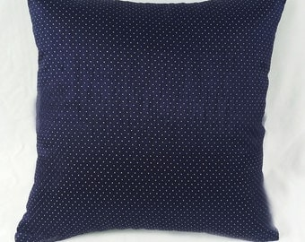 Navy blue and gold polka dot  decorative pillow.   silk luxury throw pillow cover. Festive pillow.  18 inch  throw pillow cover.