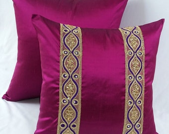 magenta pink pillow, fuchsia pillow cover,ethnic pillow with saree border Jewel Tone cushion cover 17x17 inch 2 pcs in stock