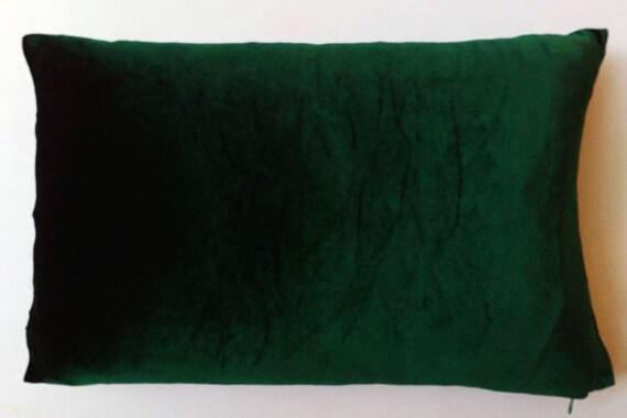 Dark Green Velvet Pillow Lumbar Pillow Long Pillow Long