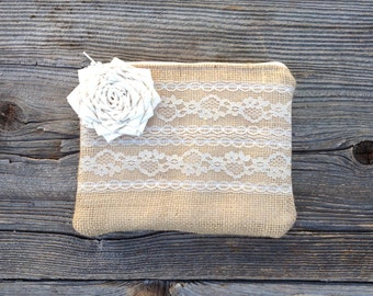 Bridesmaid Clutch, Burlap Bag, Bridesmaid Gift, Bridal Clutch, Rustic Wedding, Wedding Gift, Burlap Wedding, Clutch Purse, Ivory Wedding Bag