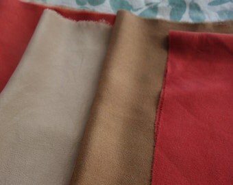 """Naturally Dyed Silk Fabric Destash 6 Small Pieces Silk New and Vintage Brown Tan Red 6""""x 9"""" to 10""""x 14"""" Madder Walnut Hand Dyed Silk Fabric"""