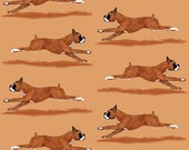 Running Boxer Fabric - Running Boxer Dog By Eclectic House - Watercolor Dog Cotton Fabric By The Yard With Spoonflower