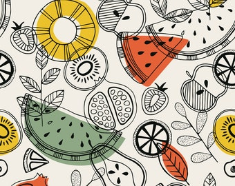Scandi Fabric - Scandinavian Fruits By Adehoidar - Scandinavian Modern Kitchen Decor Cotton Fabric By The Yard With Spoonflower