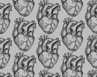Heart Fabric - Hearts Anatomical On Soft Gray By Beththompsonart - Anatomy Science Cotton Fabric By The Yard With Spoonflower