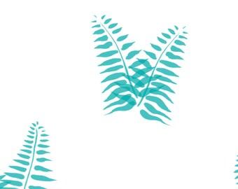 Blue Fern Fabric - Fern Blue By Meissa - Minimalist Blue Fern Cotton Fabric By The Yard With Spoonflower