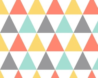 Retro Triangles Fabric - Coral Mint Yellow Triangles By Oleynikka - Rainbow Baby Nursery Decor Cotton Fabric By The Yard With Spoonflower