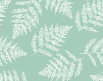 Mint Ferns Fabric - White Ferns On Spring Green By Weavingmajor - Summer Botanical Cotton Fabric By The Yard With Spoonflower