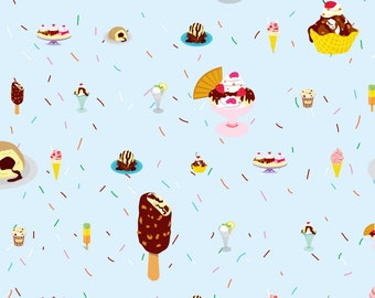 Summer Ice Cream Fabric - Glaces By Made In Shina - Summer Dessert Cotton Fabric By The Yard With Spoonflower