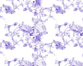 Purple Botanical Print Fabric - Jeweled Botanist By Lascarlatte - Purple Botanical Cotton Fabric By The Yard With Spoonflower