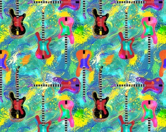 Music Fabric - Rock And Roll Is Here To Stay By Vo Aka Virginiao - Music Guitars Rock Musician Cotton Fabric By The Yard With Spoonflower