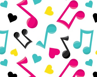 Music Notes Fabric - Girl Music Fun 08 By Prettygrafik - Music Notes Hot Pink Aqua Blue Yellow Cotton Fabric By The Yard With Spoonflower
