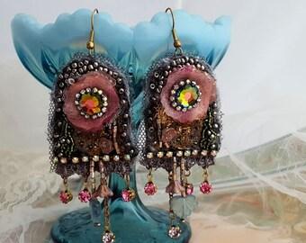 Tiffany earrings, lace earrings, Boho statement earrings, long lightweight flower earrings, Swarovski bead embroidery textile jewelry, gray