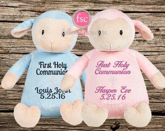 Personalized Communion Lamb, Personalized First Holy Communion gift , communion keepsake gift, personalized plush lamb
