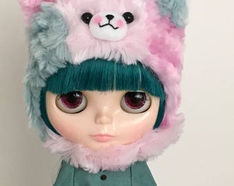 SALE - Neo BLYTHE - Special Patchwork KITTY Cat Helmet - Pastel Pinks - Teal Blue