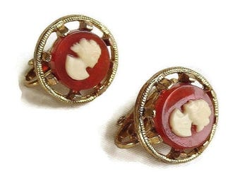 Vintage Lady Cameo Earrings Celluloid & Lucite