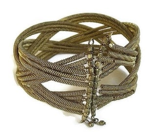Coil Wire Mesh Bracelet Braided Expansion Vintage
