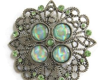 Vintage Filigree Brooch Green Art Glass and Green Rhinestones