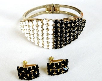 Pave Black & White Rhinestone Bracelet and Earrings Set Vintage Clamper