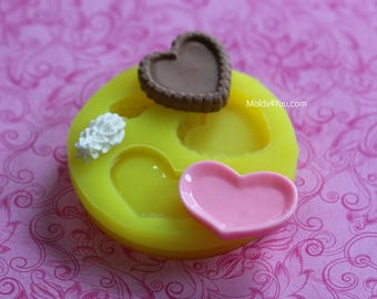 Dollhouse Plate Mold Silicone Resin Plate Mold Pie Crust Mold Heart Frosting Tiny Food Plate Polymer Clay DIY Dollhouse Food