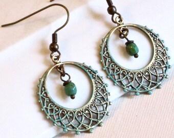 Aqua Hoop Earrings - Filigree Earrings, Chandelier Earrings, Patina Jewelry