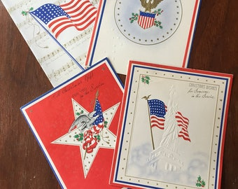 Set of 4 WWII Military Christmas Cards