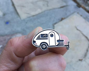 Tiny Trailer Enamel Pin, Tab Trailer, Happy Camper, Teardrop, Camping Pin