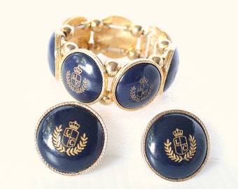 Vintage Liz Claiborne Navy Stretch Bracelet Earrings Set Stretch Bangle Clip Earrings Etched Crest Blue Gold