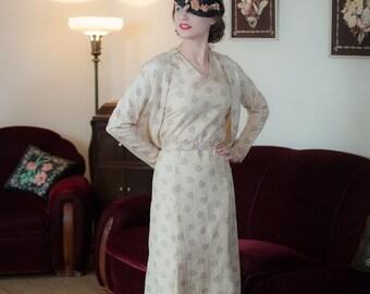 2 DAY SALE - Vintage 1930s Dress Set - Fantastic Deco Print Ivory Slubbed Silk 30s Dress with Matching Jacket