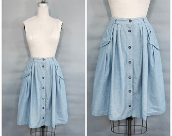 1980s blue cotton front button up skirt