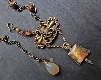 "Ornate cast brass pendant necklace with vintage chain and braided leather- ""Come What May"""