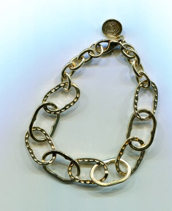 large link gold chain bracelet 10mm x 12mm links metal womens vintage 90s jewelry
