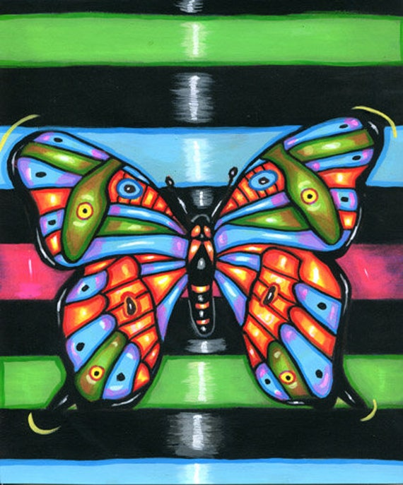 BUTTERFLY ORIGINAL art PAINTING butterflies Folk art bug insect pop nature acrylics wildlife art Elizavella