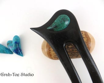 Ebony Wood 2 Prong Hair Fork, Handmade, Malachite Azurite Paisley, Grahtoe studio, Hairforks, Hair Stick, Hair Toys, Man Bun, Hairsticks