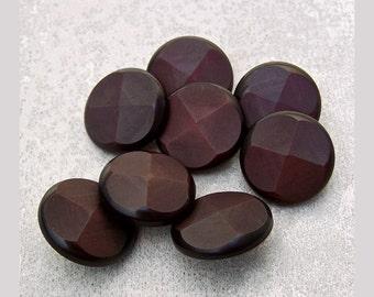 Dark Garnet Buttons, 18mm 3/4 inch - Deep Red Faceted Cross Quarter Flower Buttons - 8 VTG NOS Cranberry Red Retro Mod Shank Buttons PL242