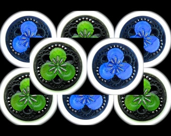 8 Czech Glass Buttons 27mm - 1 1/16 inch Kelly Green Clover / Coblat Blue Fairy Flower Buttons with Silver Luster - DESTASH LOT SPECIAL