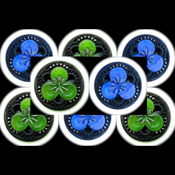 CLEARANCE 4 or 8, Czech Glass Buttons, 27mm 1-1/16 inch - Kelly Green Clover / Coblat Blue Fairy Flower Buttons with Silver