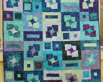 """Stars and Boxes Batik Patchwork Quilt - 58"""" x 70"""""""