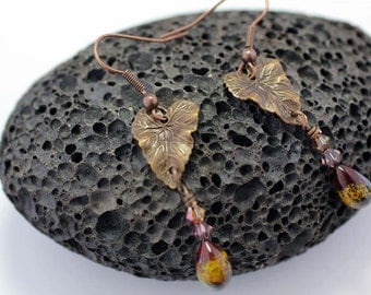 Copper Leaf and Lampwork Glass Dangle Earrings SRAJD SRA