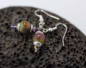 Raku Lampwork Glass and Sterling Silver Earrings