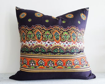Colorful Boho Chic Pillows, Black Bohemian Pillows, Gypsy Floor Cushions, Vintage Hippy Pillow Covers, PillowThrowDecor, 20x20 NEW