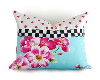 Magnolia Pillow, Whimsical Spring Pillows, Floral Pillow Covers, Pink Blue Polka Dots, Black White Checks, Unique PillowThrowDecor 14x20