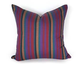 Bohemian Striped Pillows, Teal Blue Red Purple Pillow, Unique Bohemian Cushions, Masculine Pillows, Boho Chic Decor, PillowThrowDecor 20x20