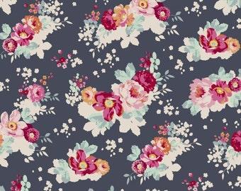 Tilda Fabric, Tilda Flowercloud Dark Slate Fat Quarter, Memory Lane Collection, Tilda Cotton Fabric 481283, Fat Quarter, 50 cm x 55 cm