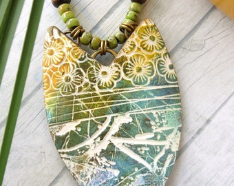 Polymer Clay Pendant Jewelry featuring Textured Floral and Line Design in Teal, Yellow and White