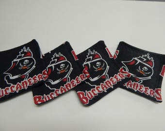 Set of 4 Fabric Drink Coasters Tampa Bay Buccaneers