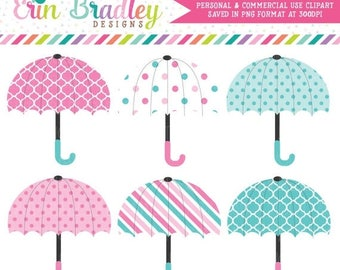 50% OFF SALE Baby Umbrellas Clipart in Pink & Blue Instant Download Commercial Use Graphics